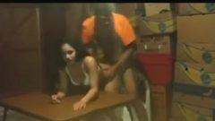 Young Black Bang's His Latina Doggystyle Girlfriend At The Table