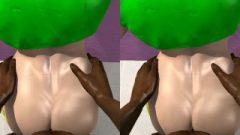 Stereoscopic Street Fighter Laura Matsuda From Behind (loop) + Cum-Shot