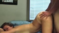 College Girl Does Doggy With Cream Pie