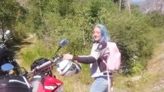 Blue Hair Biker Chick Wanted Some Raw Outdoor Standing Doggystyle Sex